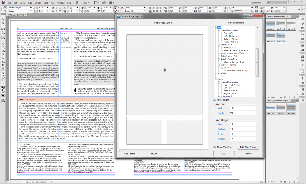 Study Bible Layout Showing Page Designer