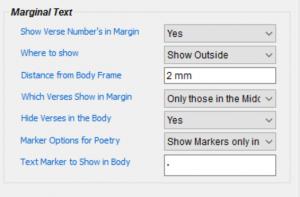 Marginal Text options