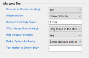 Marginal Text options